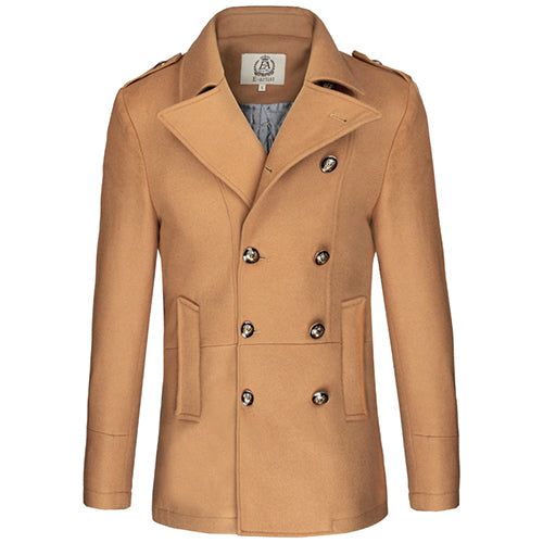 Men's Slim Fit Double Breasted Wool Trench Coat Male Warm Winter Jackets Peacoats Outerwear Overcoats Plus Size 5XL N31