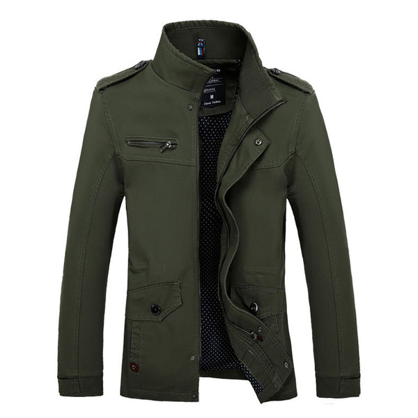 New Arrival Men's Fashion Casual Spring Autumn Jacket Cotton Stand Collar Coat 4 Colors M-3XL 82cy