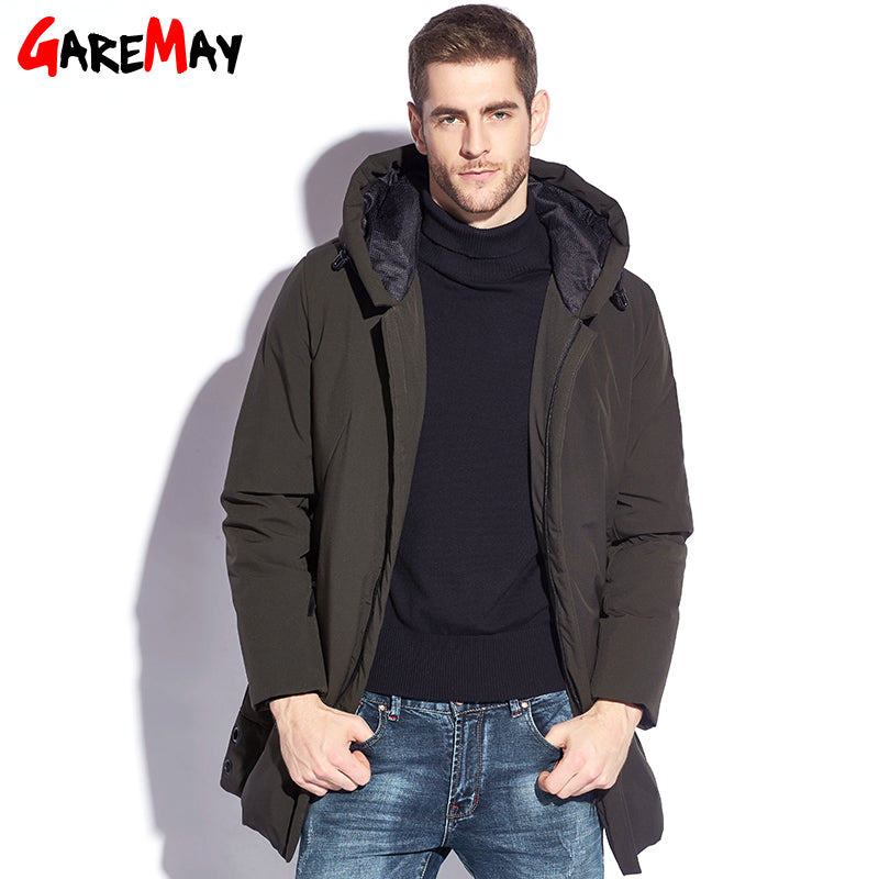 8eac9ad53d8 Winter Jacket Mens Down Coat Male Puffer Down Feather Long Hooded Warm  Coats For Men Parkas Plus Size Black Jackets