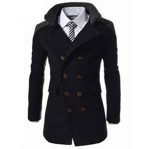 Fashion Men's Autumn Winter Coat Turn-down Collar Wool Blend