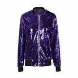 Autumn Women Sequin Coat Green Bomber Jacket  Long Sleeve Zipper Streetwear Jacket Preppy Loose Casual Basic Coat