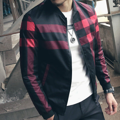 Hotsale Plaid Jacket Men Bomber Jacket Fashion Slim Mens jackets and Coats Chaquetas Hombres Jaquetas
