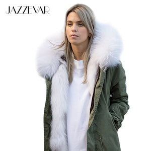 new fashion woman luxurious raccoon fur collar hooded coat white thick real fur liner parkas long winter jacket
