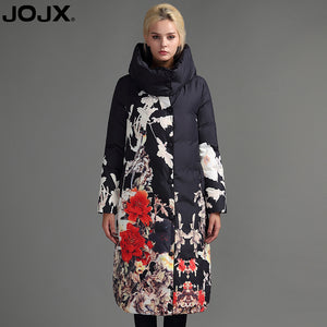 JOJX Flower Print thick Parkas women winter jacket 2017 Long Brand women coat winter Down Jacket Fashion Warm Female coats