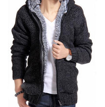 Load image into Gallery viewer, Velvet Cotton Hooded Fur Jacket Mens Winter Padded Knitted all-match Casual Sweater Cardigan Coat Spring