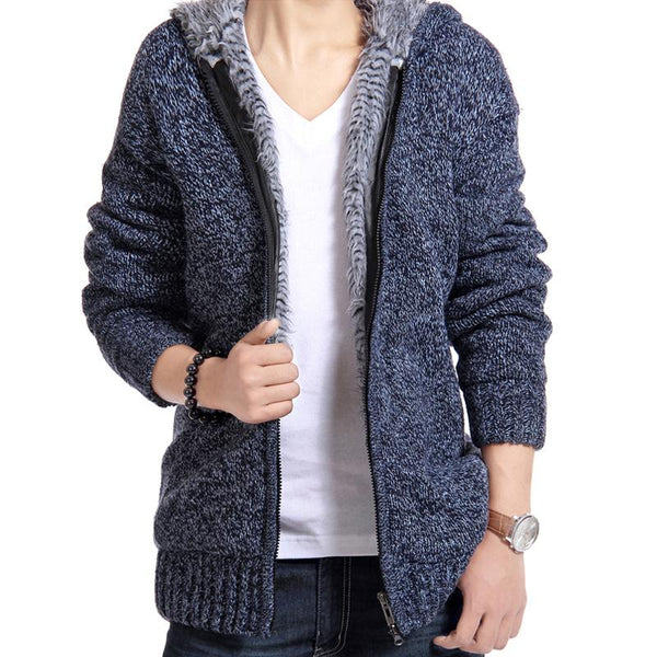 Velvet Cotton Hooded Fur Jacket Mens Winter Padded Knitted all-match Casual Sweater Cardigan Coat Spring