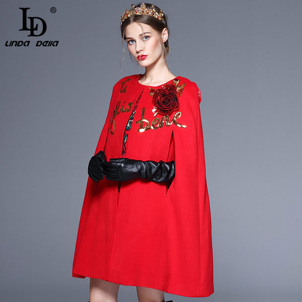 Winter Cloak Wool Coats Warm Elegant Rose Floral Flowers Appliques Sequin Cashmere Coat Outwear