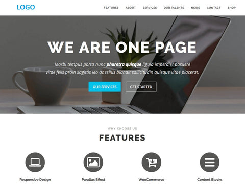 ONE PAGE WEBSITE WEB DESIGN