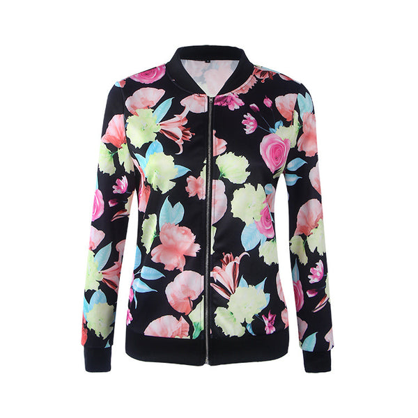 Floral Print Long Sleeve Bomber Jacket Women Spring Autumn Coat Female Vintage Zipper Ethnic Jacket Basic Coat 2017