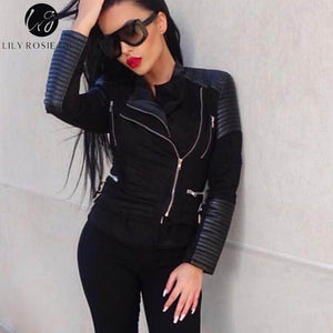 Gray Zipper Suede Faux Leather Jacket Women Autumn Winter Black Basic Jackets Casual Outwear Slim Coat 2017