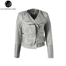 Load image into Gallery viewer, Gray Zipper Suede Faux Leather Jacket Women Autumn Winter Black Basic Jackets Casual Outwear Slim Coat 2017