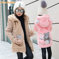 Winter Girls Faux Fur Fleece Coat Warm Jacket Xmas Snowsuit
