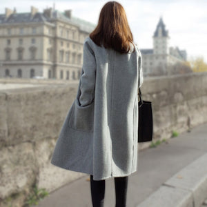 Women Autumn Winter Coats Jackets warm wool blends vintage solid Oversized High Quality Winter Long Coat Manteau Femme