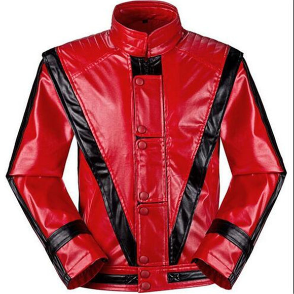 MJ Michael Jackson Jackets Thriller Jacket Children Kids Coats Costumes Red Patchwork XXS-4XL PU Outwear