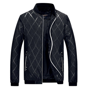 Men's Fashion Jacket Brand New 2017 Autumn Winter Men's Casual Jacket Print Collar Mens Jackets Zipper Jacket 4XL