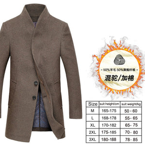 Men's wool coat winter long sections thick woolen coats Men Stand collar Casual Fashion casaco masculino palto peacoat overcoat