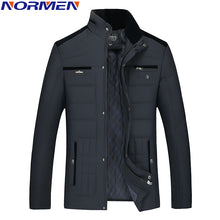 Load image into Gallery viewer, 2017 New Casual Winter Jacket Man Stand Collar Parkas For Men Fashion Streetwear Rib Sleeve Padded Solid Overcoat