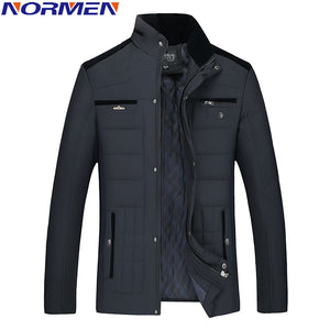 2017 New Casual Winter Jacket Man Stand Collar Parkas For Men Fashion Streetwear Rib Sleeve Padded Solid Overcoat