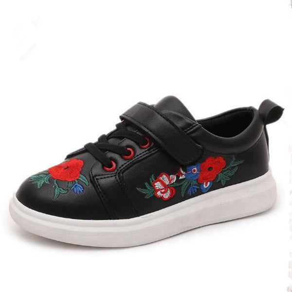 New Fall Children's White Sport Shoe Floral PU Leather Sneakers Embroidery Soft Non-slip Kids Leisure Shoes