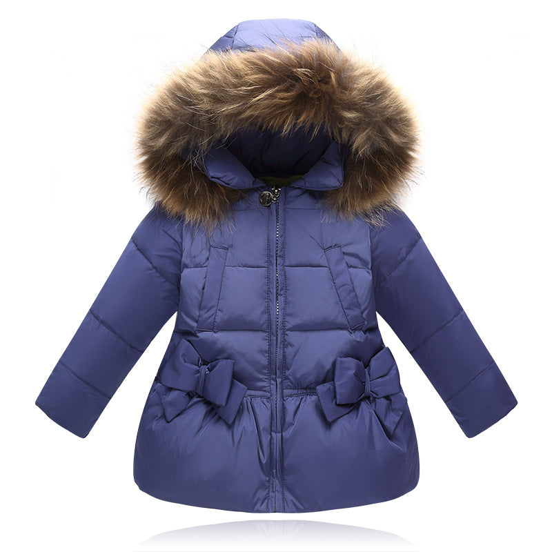 5525da9489962 ... New Fashion Baby Girls Jackets Bow Tie Autumn Winter Jacket Kids Warm Hooded  Children Outerwear Coat ...