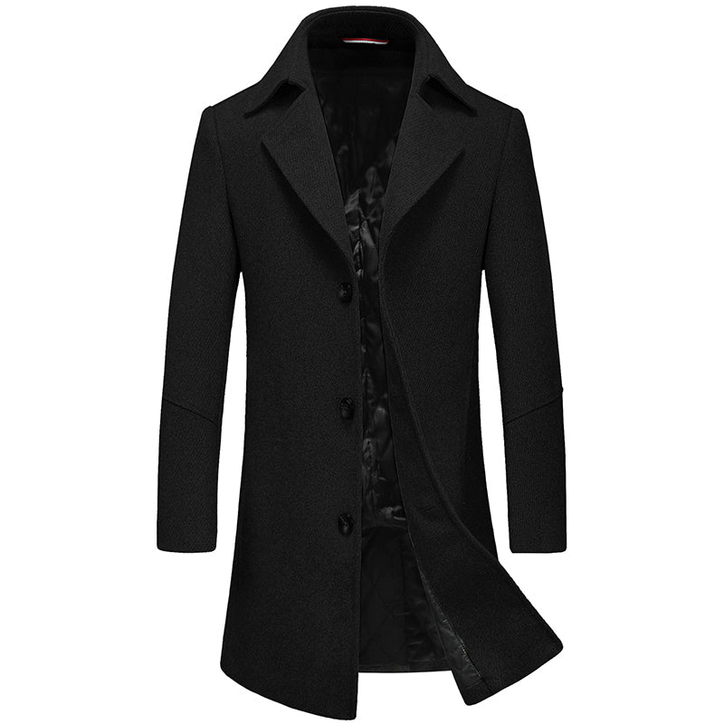New Fashion Brand-Clothing Jacket Wool Coat Men Big Pocket Long Peacoat Business Casual Slim Fit Wool & Blends Winter Men Coat