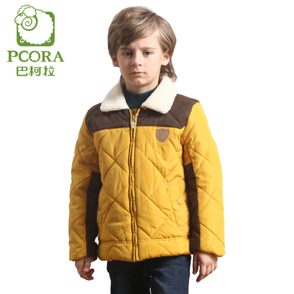 Winter Jacket for Boy Kids Patchwork Zipper Parkas Warm Children Clothing Turn Down Collar Yellow and Khaki Down Coat Boys