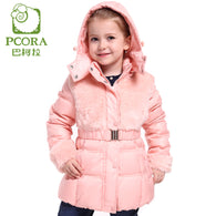 Winter Jacket for Girls Winter Coats Pink/Khaki White Duck Down Parkas Girls Outwear Artificial Fur Winter Jacket Kids