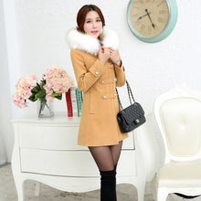 Load image into Gallery viewer, 2017 autumn winter women woolen coat outerwear female medium-long trench sweet preppy fur collar casual jacket