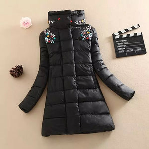 Pinky Is Black winter coat women Crystal medium-long coat parka female diamond outerwear women cotton-padded winter jacket women