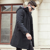 Long winter Jacket men brand clothing male cotton autumn coat New top Quality black down Parkas men 611801