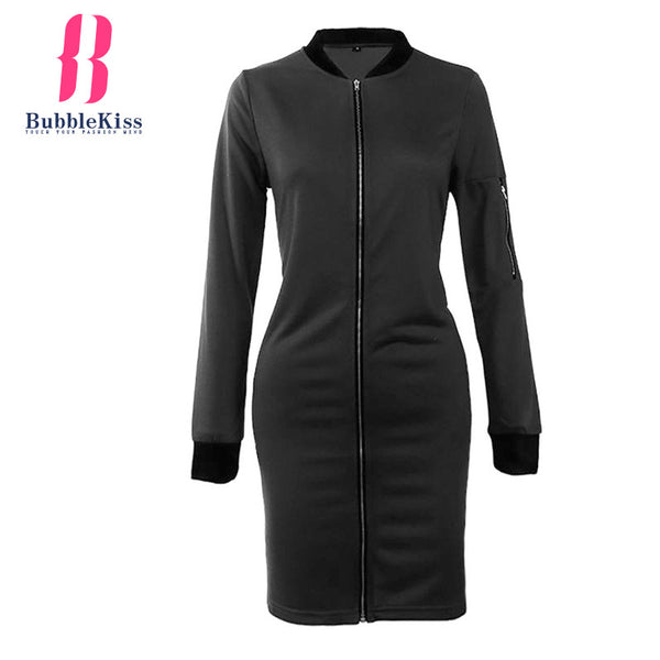 Plain Long Jackets Stand Collar Zipper Long Sleeve Slim Womne Jackets Fashion Elegant Autumn Winter Spring Coats