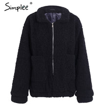 Load image into Gallery viewer, Faux lambswool oversized jacket coat Winter black warm hairly  jacket Women autumn outerwear 2017 new female overcoat