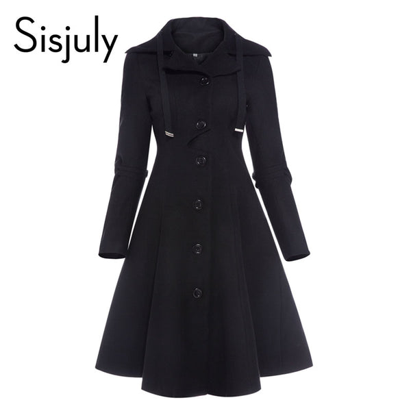 women coat autumn black vintage gothic a line elegant winter asymmetric overcoat goth lace up natural retro solid coats
