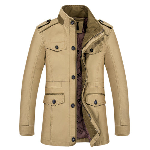 Stylish mens trench coat men overcoat cotton stand collar male outerwear zipper single breasted casual coats L-6XL big size