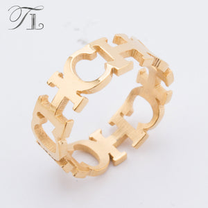 TL Hot Stainless Steel English Letter Rings