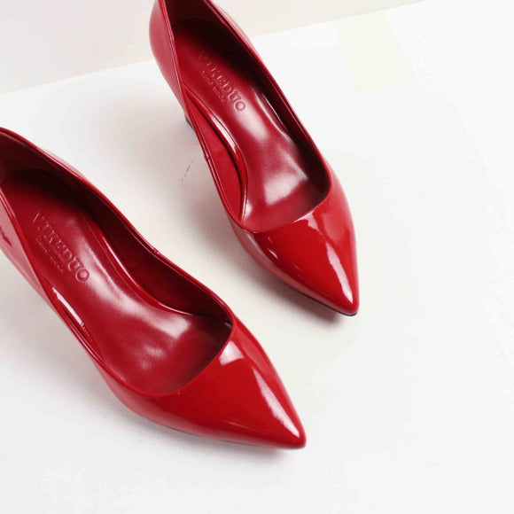 VIKEDUO Brand Handmade Pumps For Women Red Genuine Leather High Heel Shoes Ladies Wedding Office Dress Shoe Heels Zapatos Mujer