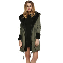 Load image into Gallery viewer, Winter Jacket Women Coat 2017 Fashion Faux Fur Hooded Collar Long Parka Waist Drawstring Pocket Women's Jacket Coats Plus Size