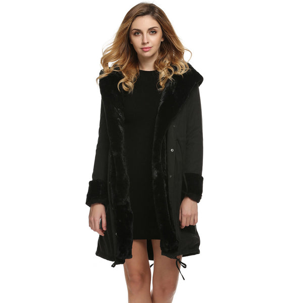 Winter Jacket Women Coat 2017 Fashion Faux Fur Hooded Collar Long Parka Waist Drawstring Pocket Women's Jacket Coats Plus Size