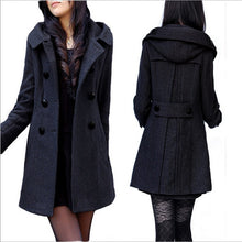 Load image into Gallery viewer, Women's Winter Coats Female Brand Korean Long Woolen Warm Overcoat Slim Femininos Jacket Plus Size 4XL Double-Breasted Hooded