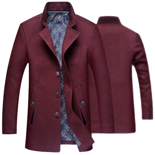New Mens Overcoat Wol Black Navy Wine Red Long Length Turn-down Collar Wool Coat Men Slim Fit Fashion