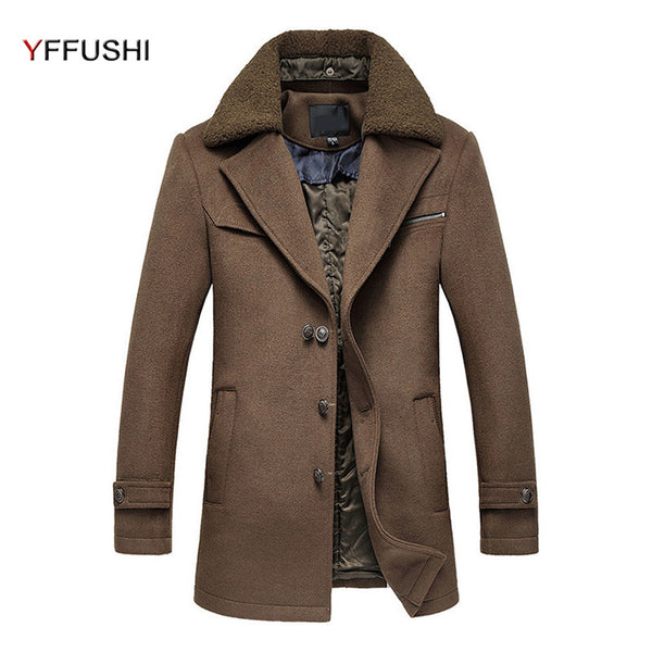 New Mens Overcoat Autumn Winter Wol Turn-down Collar Thick Wool Coat Men Removable Furry Collar Casual Style