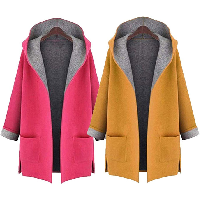 Woolen Women Coat Medium Long Hood