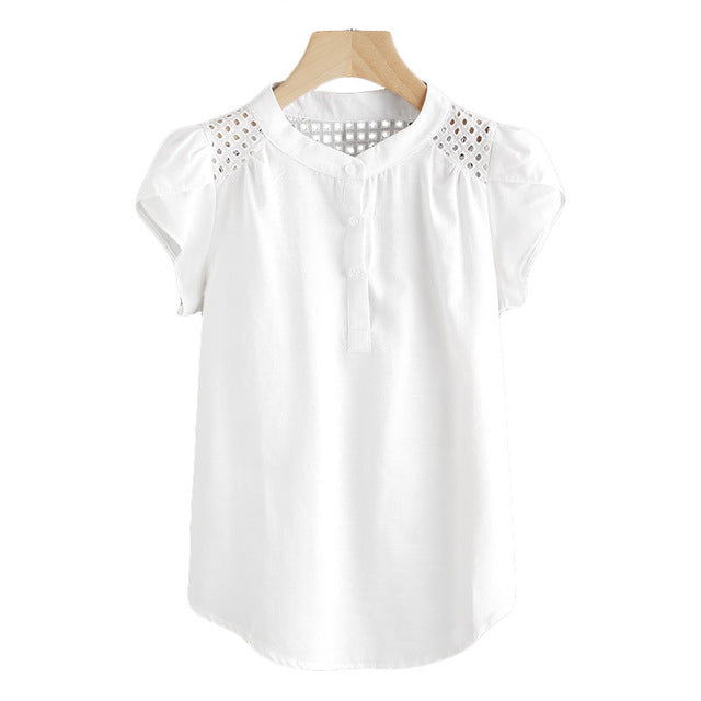 Eyelet Collar Cap Blouse