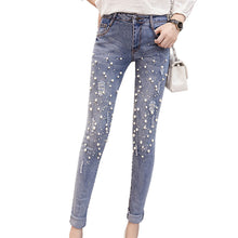 Pearl Beading High Waist Jeans