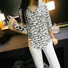 Print Chiffon Black and White Shirt