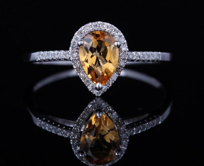 Water Drop Genuine Citrine Ring