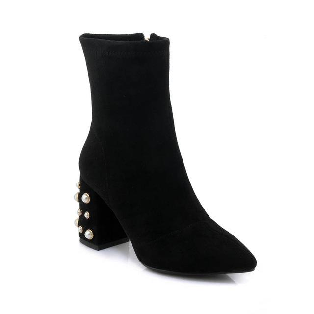 Ankle Boots with Pearls