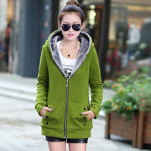 Casual Fleece Lined Zipped Hoodie