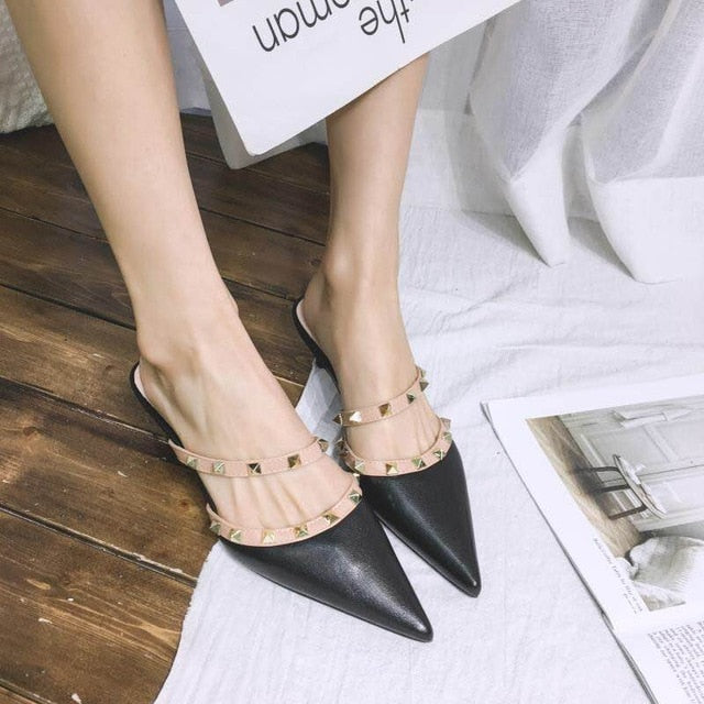 Women Pointed Toe Mules Rivets