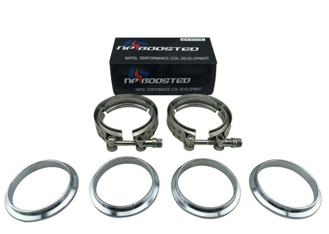"""FLANGES ALL STAINLESS STEEL EXHAUST TURBO HOSE 2.5/"""" 63.5mm 2X V-BAND CLAMP"""